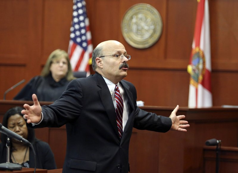 Assistant State Attorney Bernie de la Rionda presents the state's closing arguments in George Zimmerman's trial in Seminole Circuit Court in Sanford, Fla., on Thursday.