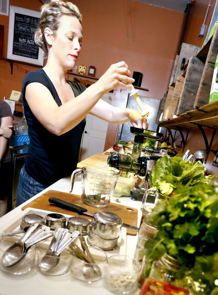 """Kathleen Flanagan, co-owner of the Roost House of Juice in Portland, whips up a concoction with greens. """"Everybody's talking about kale, kale, kale,"""" she says. Kale, which is related to broccoli, cabbage and Brussels sprouts, is one of the highest-rated """"superfoods."""