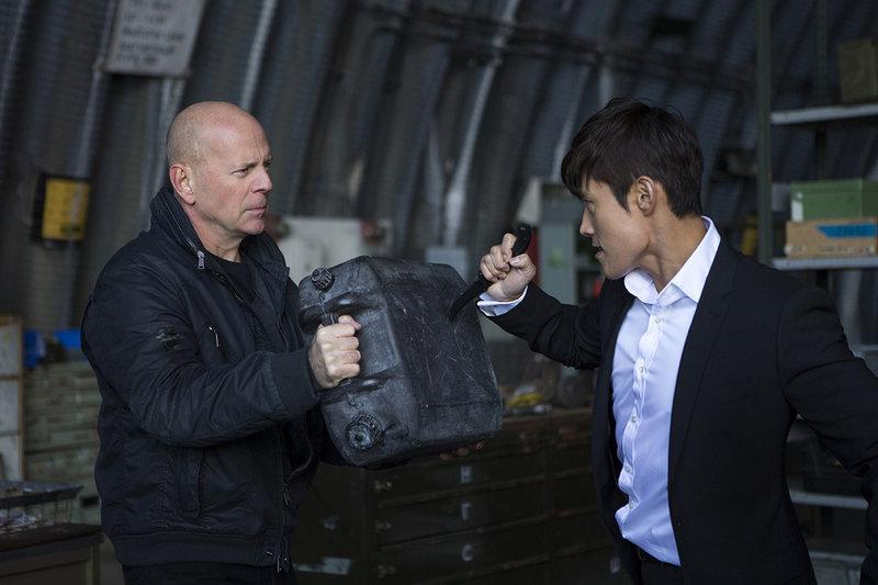 "Willis fends off Byung-hun Lee as Han-the-Hitman in ""RED 2."""