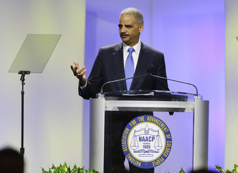 Attorney General Eric Holder delivers the keynote address at the annual convention of the NAACP, which is pressing him to bring civil rights charges in the Trayvon Martin case.