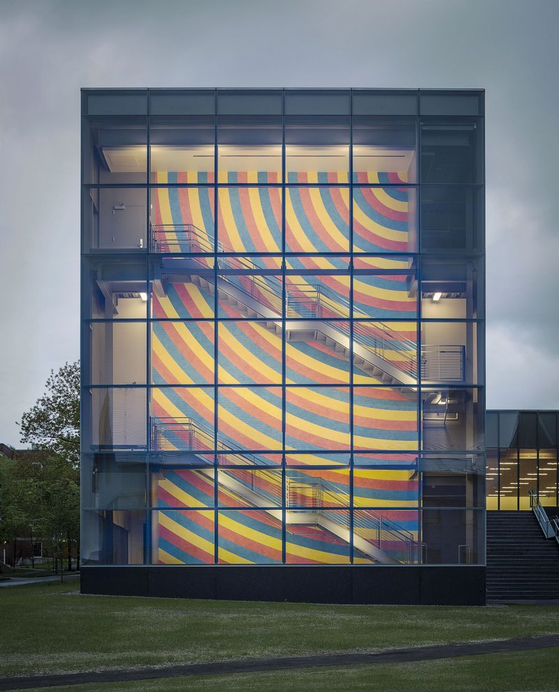 The three-story Sol Lewitt wall drawing in the new Alfond-Lunder pavilion.