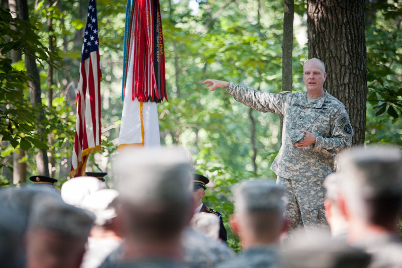 """Brig. Gen. James Campbell, adjutant general of the Maine National Guard, makes remarks Wednesday in Gettysburg, Pa. """"Citizen soldiers, throughout the history of this country, have kept this nation united and free,"""" he said."""