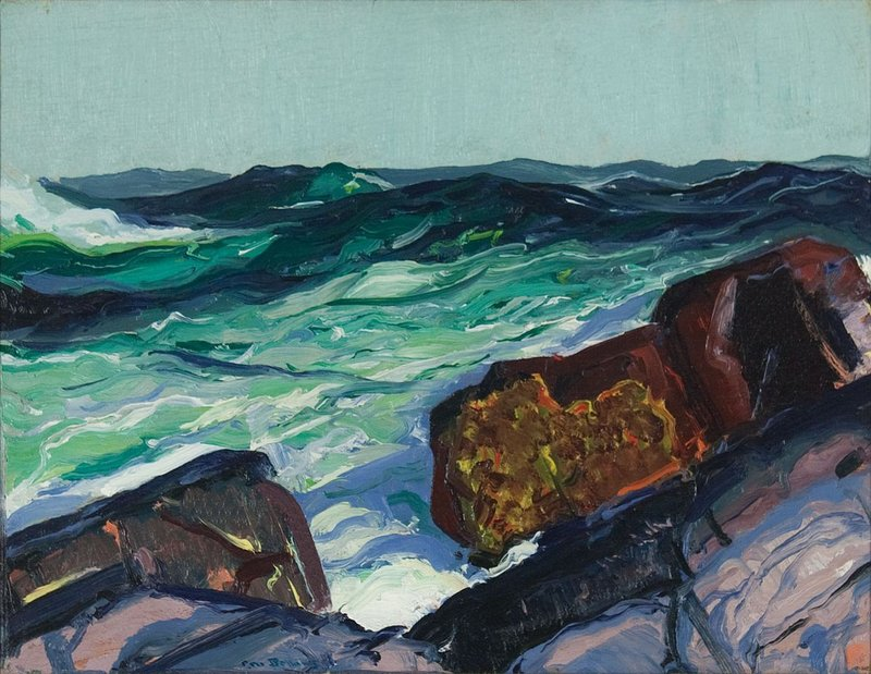"""The colors and abstract forms in George Bellows' """"Iron Coast, Monhegan,"""" reflect modernist influences."""