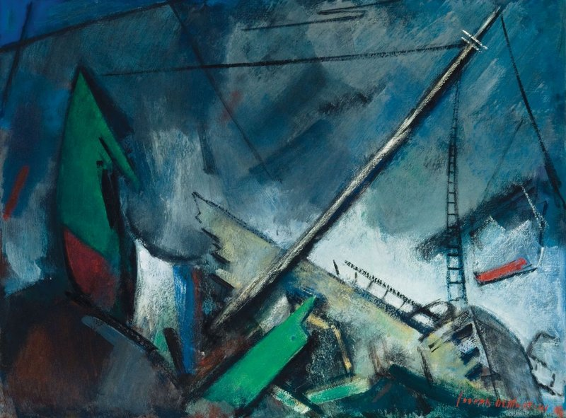 """""""The Wreck of the St. Christopher"""" by Joseph DeMartini (1949) is part of """"A Spirit of Wonder"""" at the Monhegan Museum."""