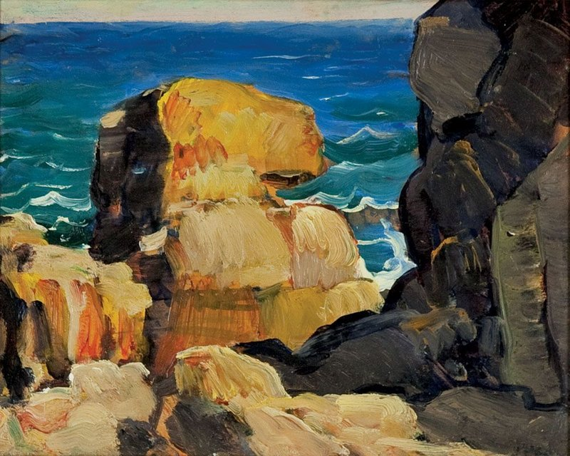 """The colors and abstract forms in Leon Kroll's """"Monhegan Rocks"""" reflect modernist influences. Courtesy Monhegan Museum"""