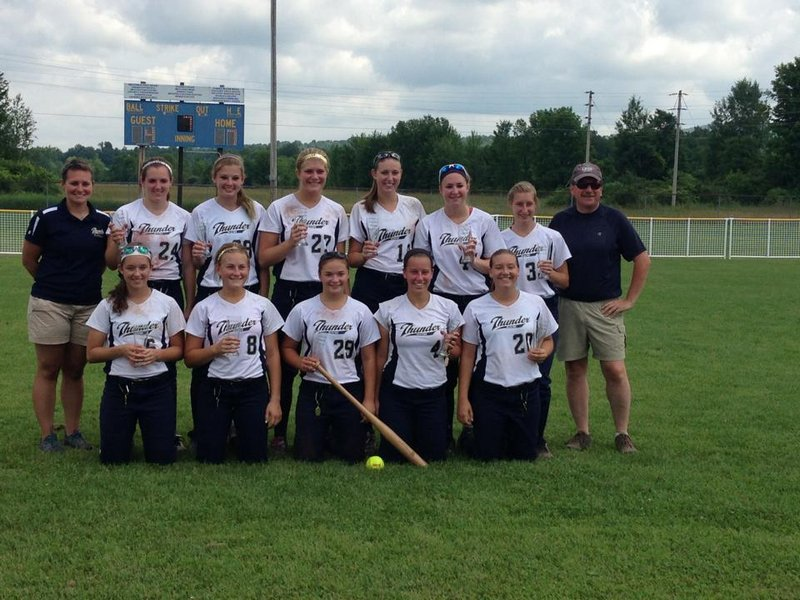 The Maine Thunder under-18 softball team recently won the New England regional ASA tournament in Pultney, Vt., with a 7-4 over the Rhode Island Rebel Gold team. Front row, from left: Maddie Inlow (Falmouth), Meryl Bond (Jefferson), Bri Brochu (Pittston), McKenzie Gray (Yarmouth), Olivia Maynard (Farmingdale). Back row: Coach Courtney Wallace, Emily McKenney (Madison), Jess Dirago (Bethel), Kate Hammond (Hermon), Mykaela Twitchell (Cumberland), Erika Parker (Madison), Emily Maynard (Farmingdale), Coach Keith Gray. Missing from photo: Coach Dan Letellier