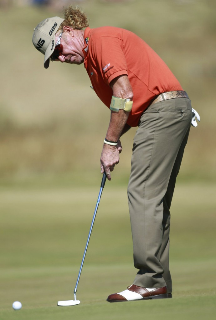 Unfazed by tough conditions, Miguel Angel Jimenez was at 3-under 139 through two rounds – one stroke better than Tiger Woods and three others.
