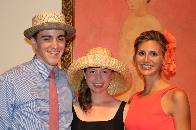 Contemporaries Michael Cain and Meredith Perdue of South Portland with Midsummer Party committee member and Portland resident Betsy Critchfield.