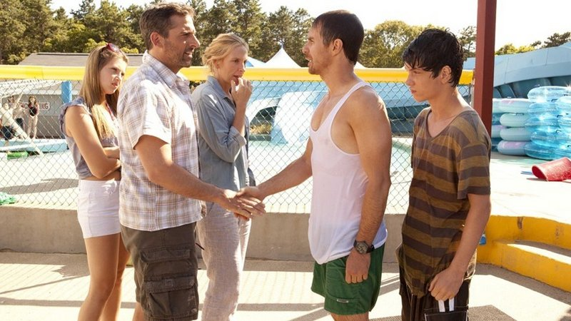 "In ""The Way Way Back,"" from left, Zoe Levin, Steve Carell, Toni Collette, Sam Rockwell and Liam James encounter each other at a water park."