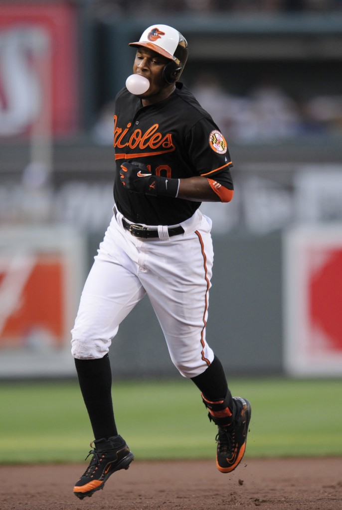 Adam Jones of the Baltimore Orioles gave the Red Sox something to chew on, hitting a two-run homer in the first inning of a 6-0 victory Friday night.