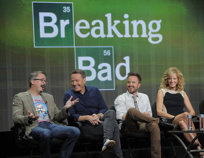 """Vince Gilligan, left, creator of """"Breaking Bad,"""" takes part in a panel discussion with cast members Bryan Cranston, center, and Aaron Paul on Friday in Beverly Hills, Calif."""