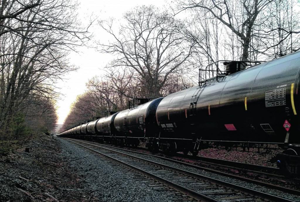 A Pan Am Railways train moves oil through Portland's Riverton neighborhood in May.