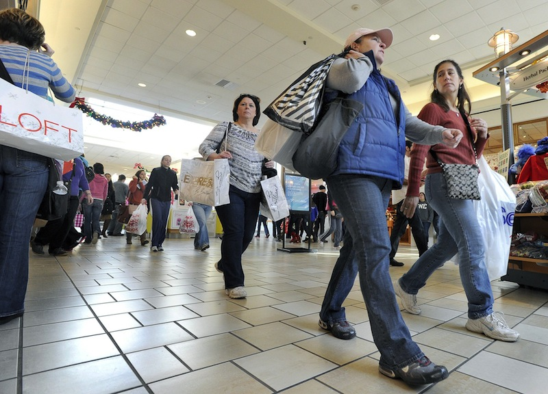 In this November 2011 file photo, shoppers crowd the Maine Mall in South Portland. Maine has the third-lowest sales tax rate in the country, according to a study released by the Tax Foundation that examined state and local sales taxes.