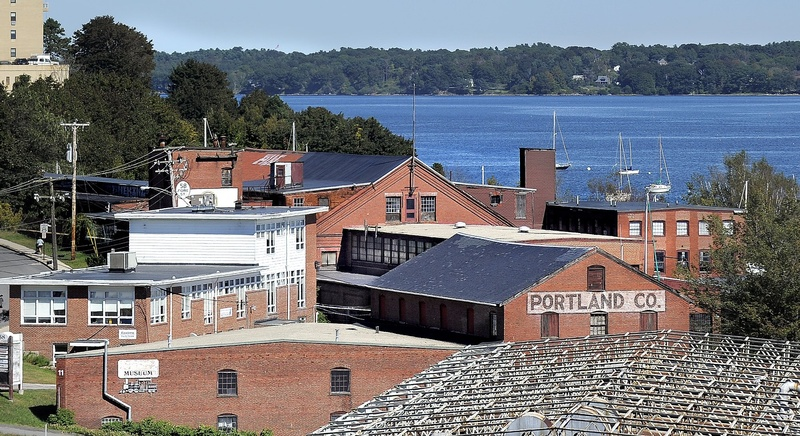 The Portland Company complex sprawls along Fore Street as seen from the Ocean Gateway Garage. The property has been sold.