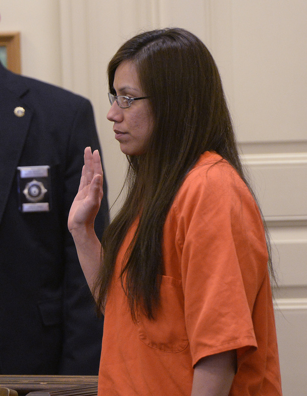 Alexis Wright is sworn in at York County Superior Court in Alfred on Thursday.