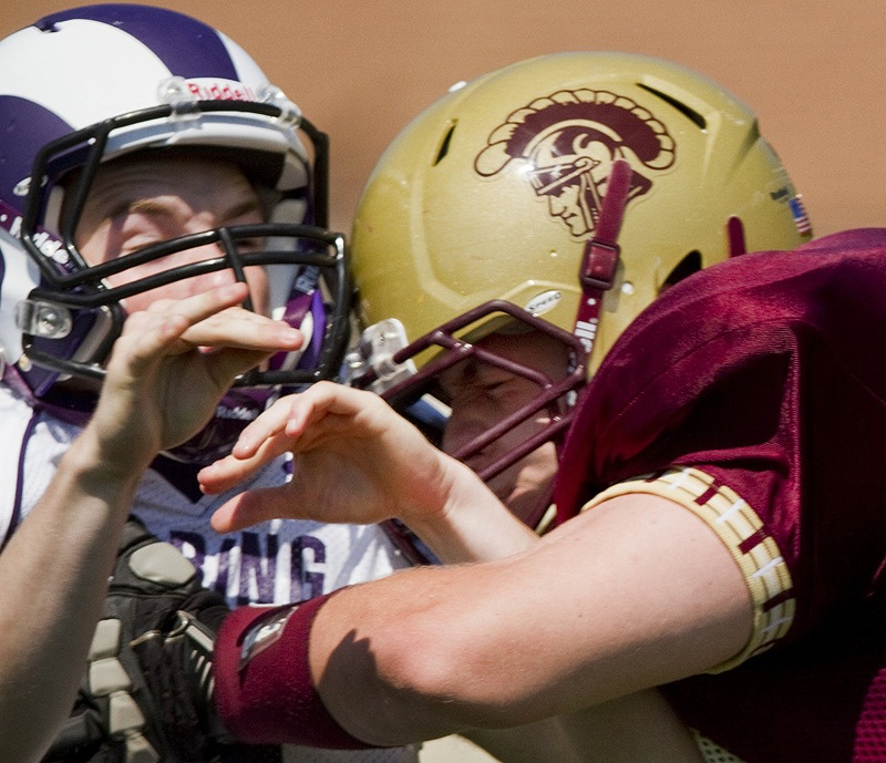 Physical contact is commonplace in high school sports, as in this football game between Deering High and Thornton Academy last year in Saco. Deering is now using two tests to determine a young athlete's ability to play after a serious injury.