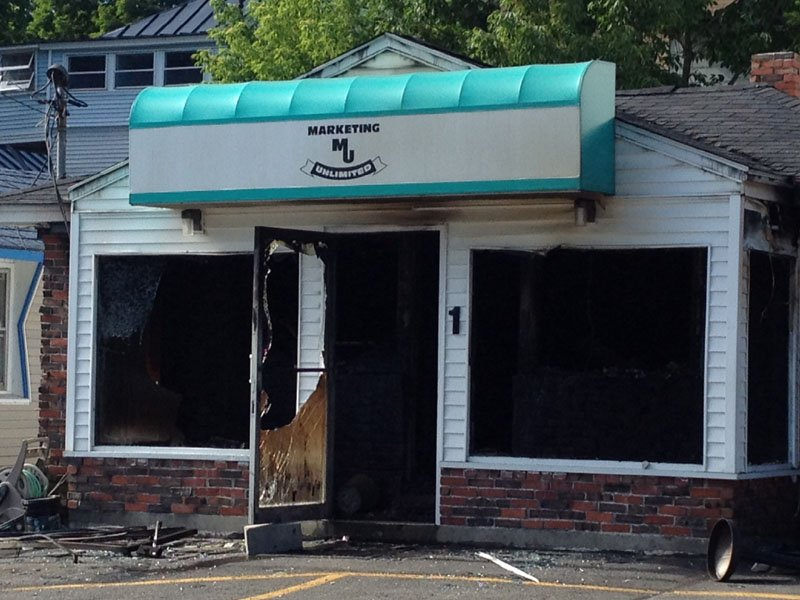 Early morning two-alarm fire destroys Augusta business Marketing Unlimited, located at 84 Western Ave, displacing 80 employees Thursday. No injuries have been reported.