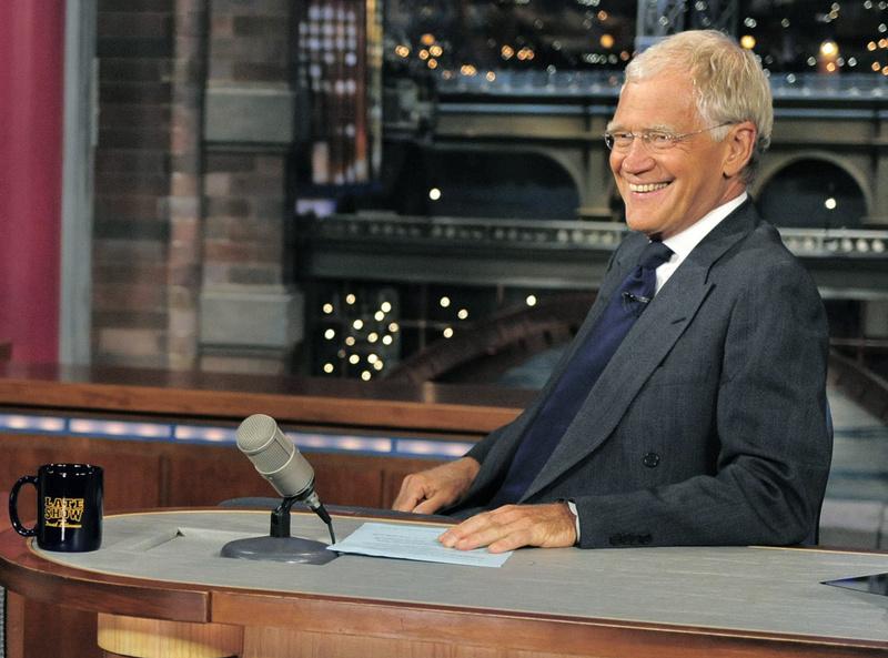 Host David Letterman, shown on the set of