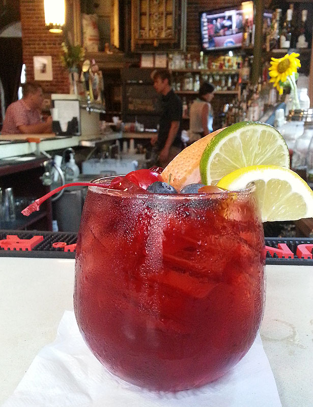 The house sangria is $5 and made with seasonal fruit.