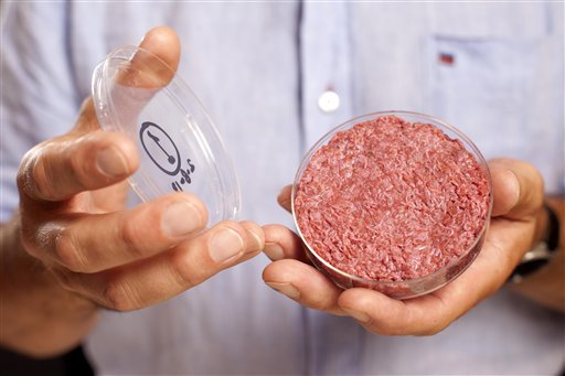 A new Cultured Beef Burger made from beef grown in a laboratory from stem cells of cattle is held by the man who developed the burger, Mark Post of Netherland's Maastricht University, on Monday.