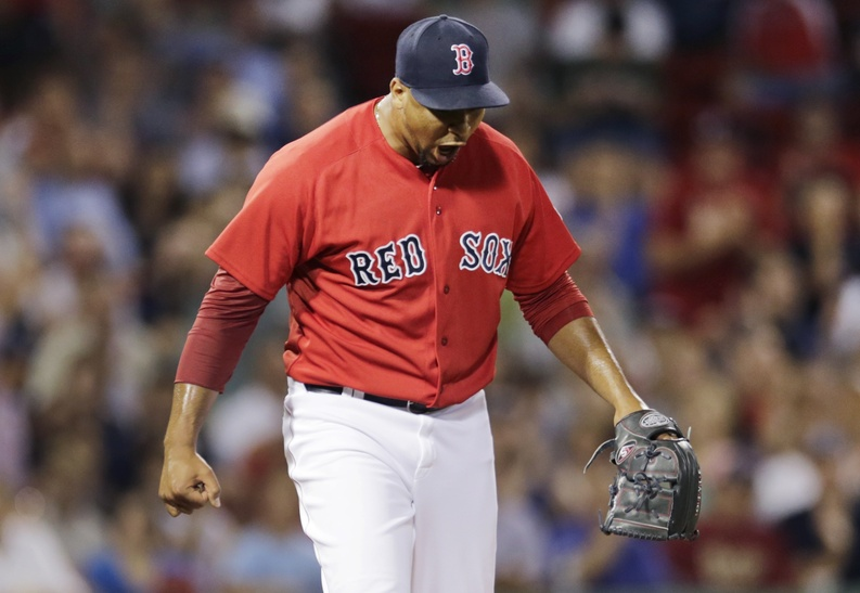 Boston Red Sox relief pitcher Pedro Beato yells after getting Arizona Diamondbacks Did Gregorius to strike out to end the seventh inning at Fenway Park on Friday in Boston.