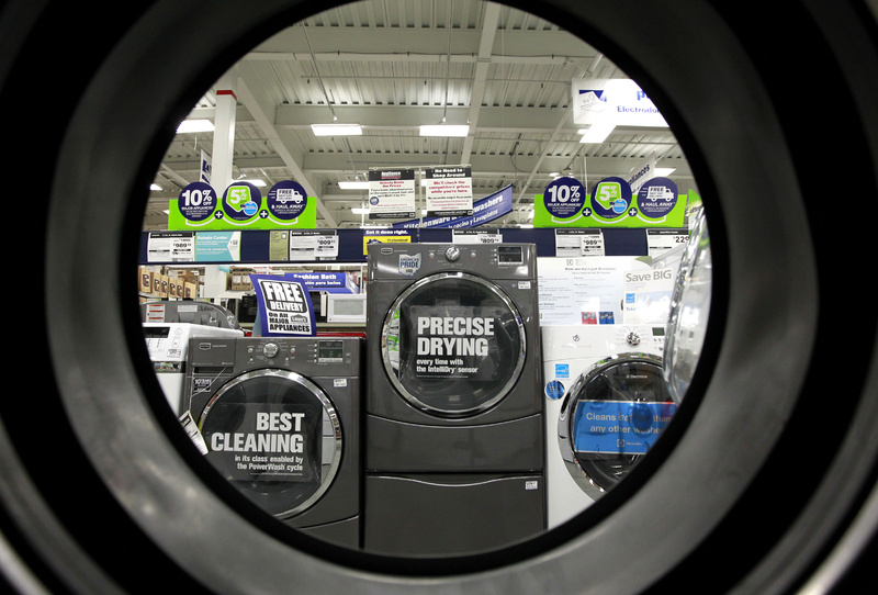 Dryers are seen at a Lowe's store in Framingham, Mass.