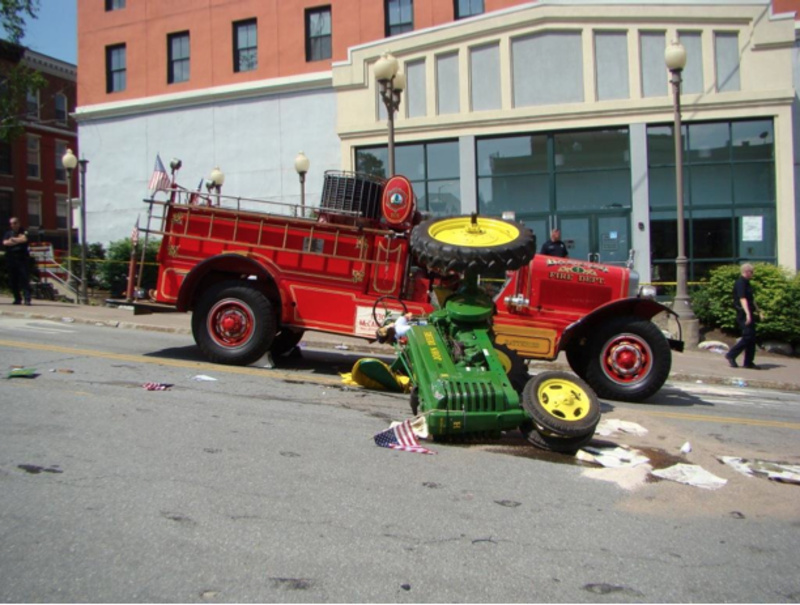 A crash between an antique fire truck and an antique tractor killed Wallace Fenlason, 63, of Holden, on July 4 in Bangor.
