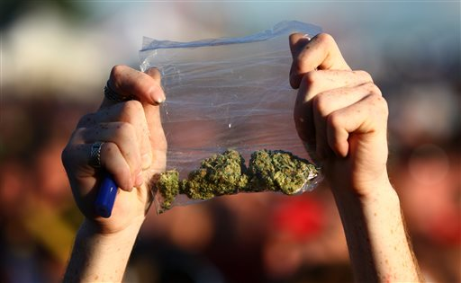 A participant holds up a bag of marijuana during the first day of the 2011 Hempfest at Myrtle Edwards Park in Seattle. Tens of thousands are expected to attend Hempfest this weekend, even though marijuana is newly legal in Washington state.