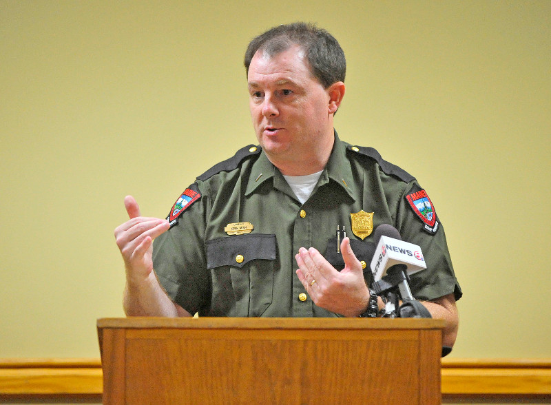 Lt. Kevin Adam, with the Maine Warden Service, speaks with reporters during a press conference today about missing Appalachian Trail thru-hiker Geraldine Largay, 66, at the Sugarloaf Mountain Hotel conference center in Carrabassett Valley.