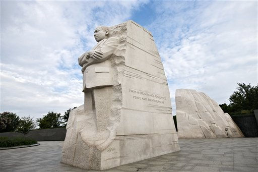 The Martin Luther King Jr. Memorial is seen in Washington on Monday. The controversial inscription on its side reads: