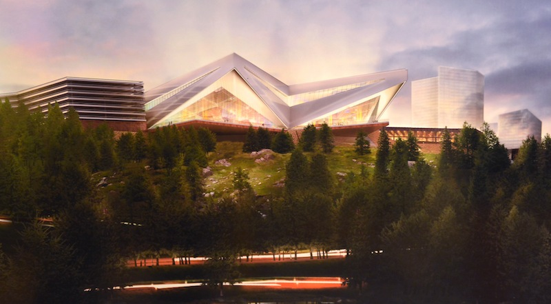 This undated artist's rendering provided by Mohegan Sun depicts their proposed casino in Palmer, Mass. A host community agreement between operators of Connecticut's Mohegan Sun casino and Palmer officials would provide the small western Massachusetts town with nearly $3 million in upfront payments and more than $16 million in estimated yearly revenue if a resort casino complex was approved and built. (AP Photo/Mohegan Sun via The Springfield Republican)