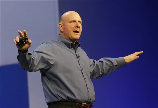 Microsoft CEO Steve Ballmer speaks at a Microsoft event in San Francisco in June. Ballmer, who helped build Microsoft into a technology empire and then struggled to prevent it from crumbling under his own leadership, will retire within the next 12 months. The world's biggest software company has not yet named a successor.