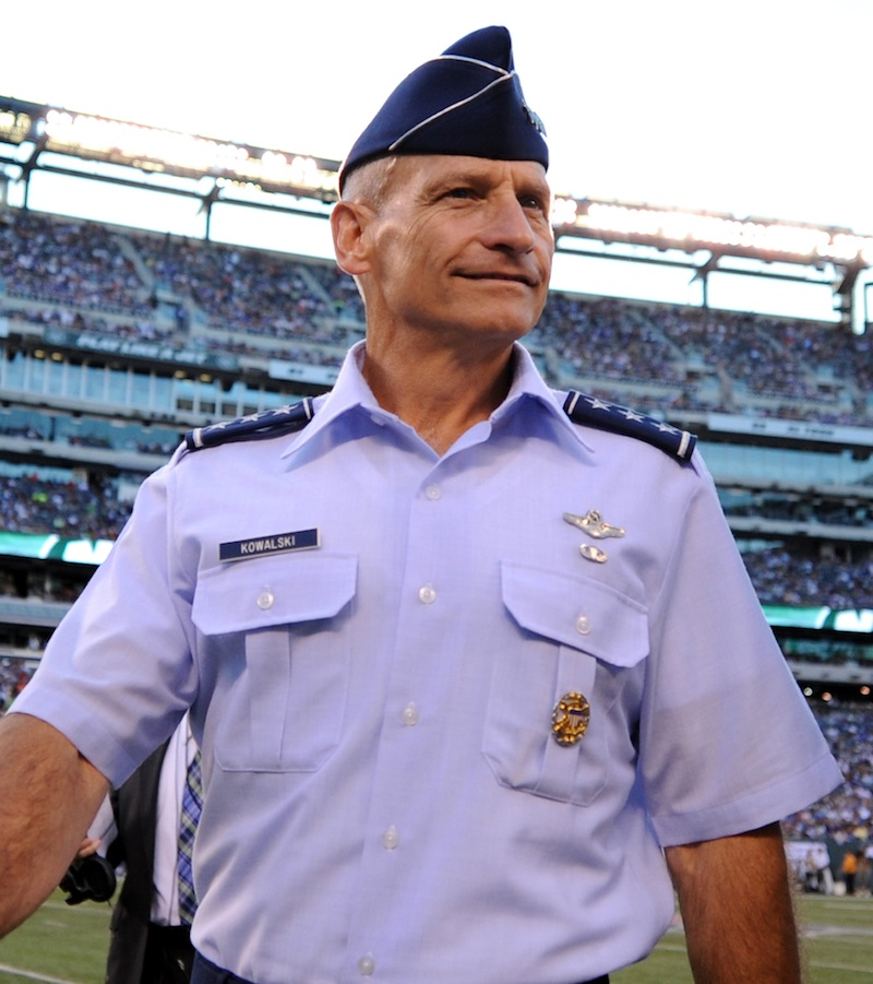 This image provided by the U.S. Air Force shows Lt. Gen. James M. Kowalski, Air Force Global Strike Command commander, is seen after a coin toss at Metlife Stadium in East Rutherford, N.J., on Aug. 18, 2012. An Air Force unit that operates one-third of the nation's land-based nuclear missiles at Malmstrom Air Force Base, Mont., has failed a safety and security inspection, marking the second major setback this year for a force charged with the military's most sensitive mission, Kowalski, who is in charge of the nuclear air force, told The Associated Press on Tuesday, Aug. 13, 2013. He said a team of