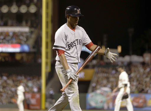 Boston Red Sox player Xander Bogaerts walks back to the dugout after striking out against the Giants during the sixth inning of Tuesday's game in San Francisco.