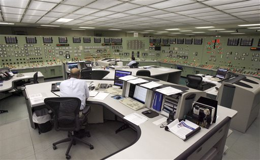 Workers man the control room at the Vermont Yankee nuclear power plant in Vernon, Vt., in this 2009 photo.