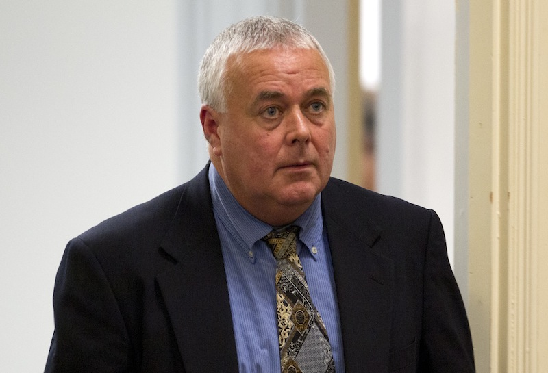 Donald Hill, the former Kennebunk High School hockey coach who is charged with engaging zumba fitness instructor Alexis Wright for prostitution in 2011, appears at York County Superior Court in Alfred on Thursday.