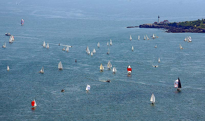 Racers compete in the MS Regatta, seen in this aerial image on Saturday with Portland Head Light in the background.