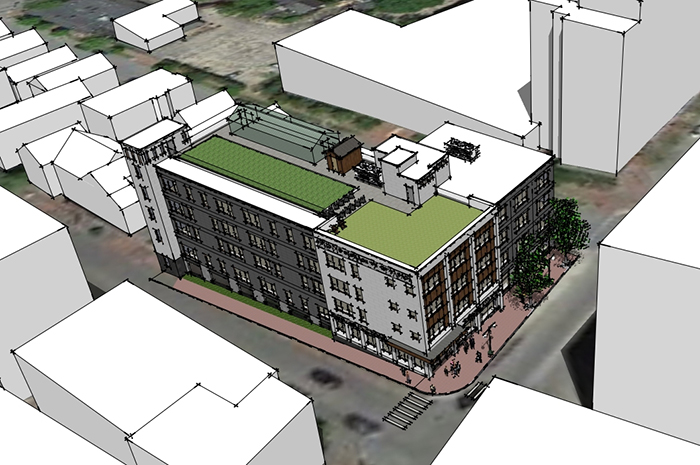 Digital renderings of 57-unit, mixed-income apartment complex proposed by Avesta Housing at 409 Cumberland Ave. in Portland.
