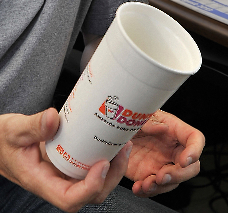 New paper cups being used at Dunkin' Donuts in Freeport and Brookline, Mass., have two paper walls with an air chamber between them.