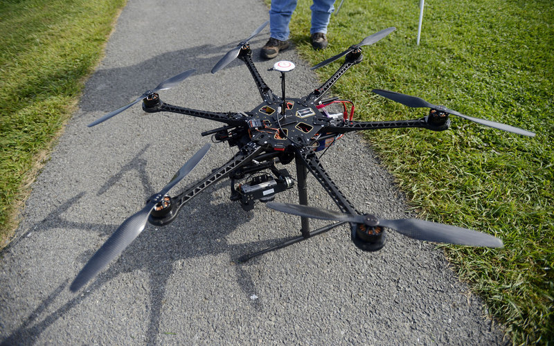 A camera-carrying drone used by The HoverFlow company of Maine.