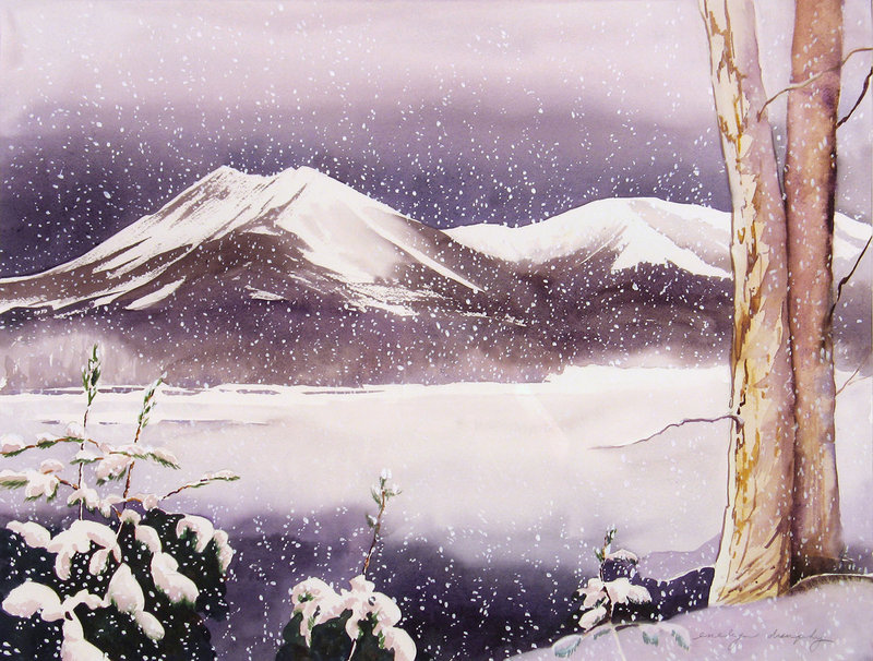 """""""Snow Falling on Katahdin"""" by Evelyn Dunphy."""