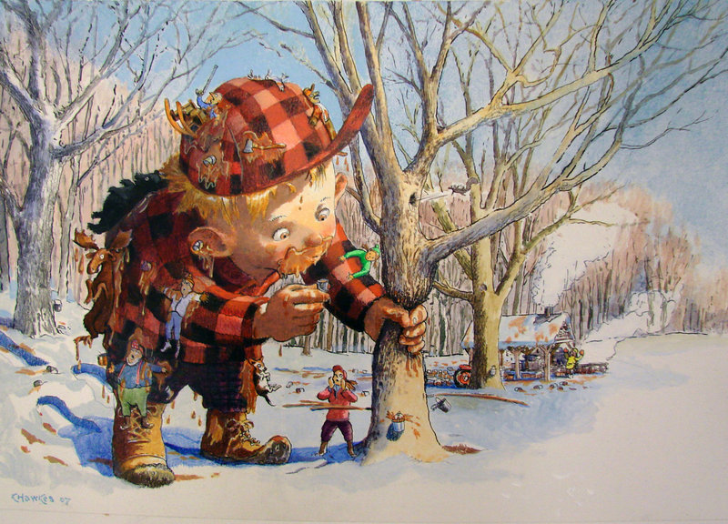 "Kevin Hawkes' artwork from ""The Wicked Big Toddlah"" is part of the ""Tell Me a Story: About Maine"" exhibition at the Atrium Art Gallery in Lewiston. Courtesy photos"