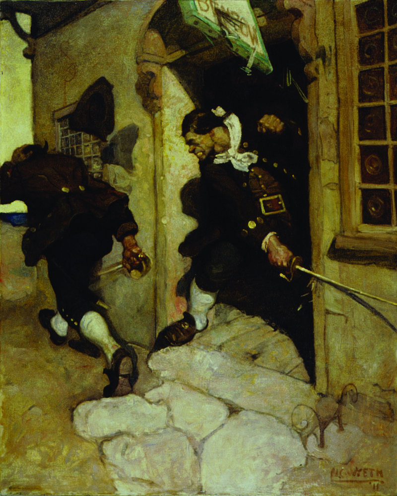 """N.C. Wyeth paintings at the Farnsworth Art Museum include """"One last tremendous cut which would certainly have split him to the chin."""""""