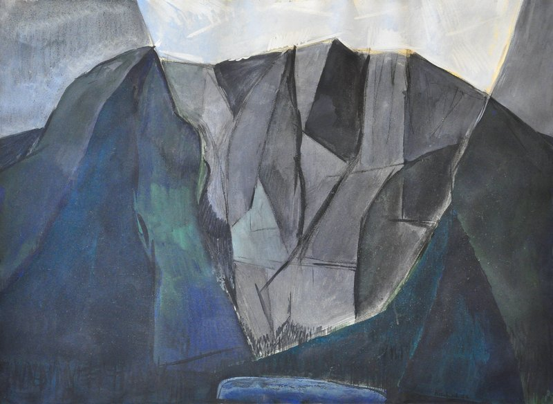 """William Kienbusch, one of the artists in the exhibition at the University of New England Art Gallery in Portland, used a series of triangles and geometric shapes to capture the mountain in his """"Mount Katahdin"""" from 1949."""