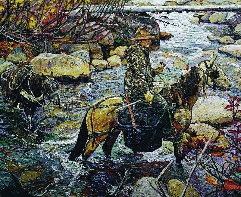 A Michael Vermette painting shows camp caretaker Al Cooper fording Sandy Stream on horseback.