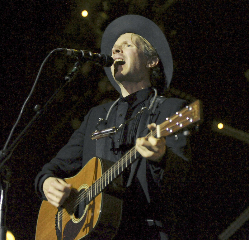 Beck opened at the State Theatre Thursday night with a mostly folk/rock set, influenced perhaps by his recent Newport Folk Festival appearance.
