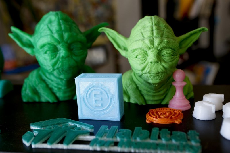 Plastic items made by Diego Porqueras with a Bukobot 3-D printer.
