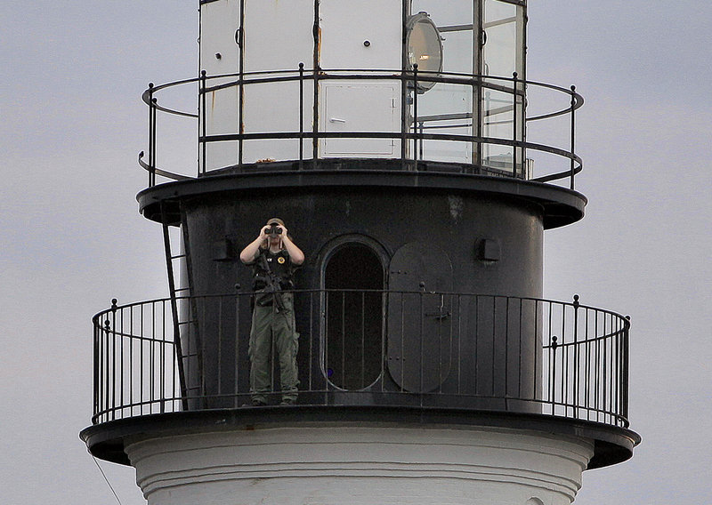 An officer positioned atop the Portland Head Light added a measure of security after the tragedy of Boston.