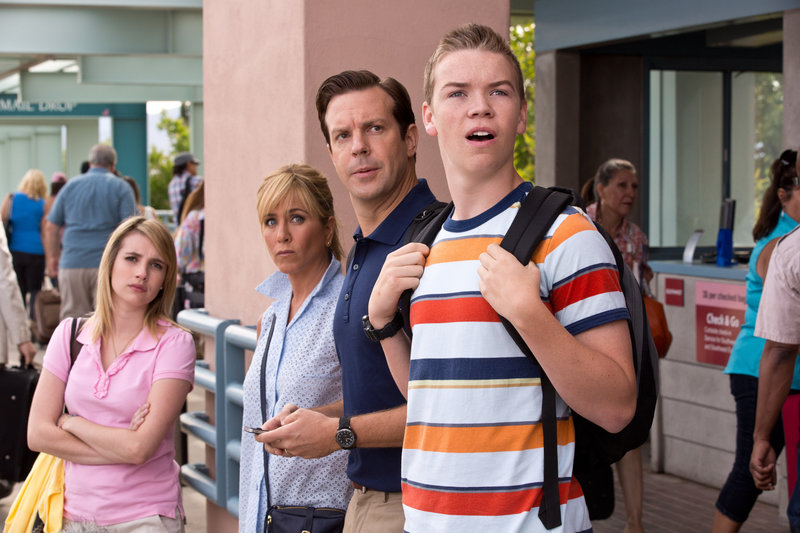 """Emma Roberts, Jennifer Aniston, Jason Sudeikis and Will Poulter star in """"We're the Millers."""""""
