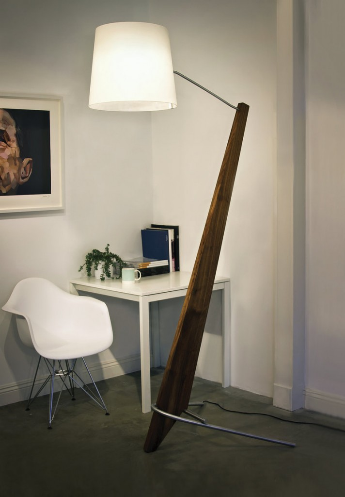 Tall Silva Giant lamp crafted from aluminum and walnut from Laguna Beach, Calif.-based Cerno